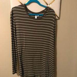 Two long sleeve tunic shirts! Plum & olive striped
